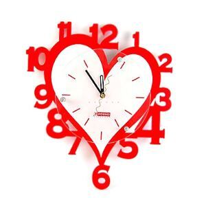 Red Heart Mute Wall Clock