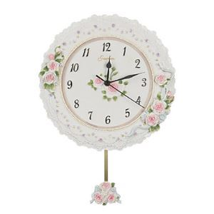 Rose Floral Wall Clock with Pendulum in Polyresin