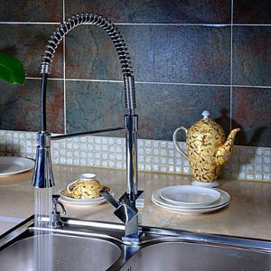 LED Kitchen Sink Faucet Solid Brass Kitchen Tap with Pull Out Sprayer