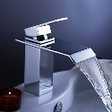 Contemporary Waterfall Bathroom Sink Faucet with Pop up Waste