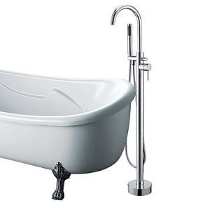 Solid Brass Floor Standing Tub Shower Faucet with Hand Shower - Chrome Finish