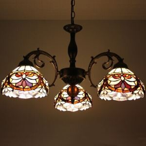 Tiffany Glass Chandeliers with 3 Lights Stained Glass Shade