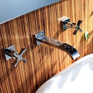 Solid Brass Wall Mount Bathroom Sink Faucet (Widespread)