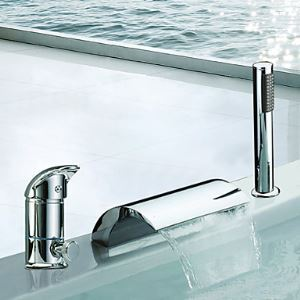Single Handles Waterfall Contemporary Widespread Chrome Finish Tub Faucet With Handshower