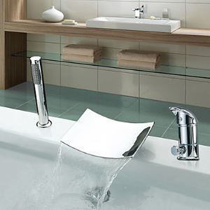 Single Handle Widespread Chrome Finish Contemporary Waterfall Tub Faucet With Handshower