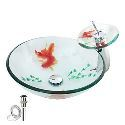 Victory Round Transparent Tempered glass Vessel Sink With Waterfall Faucet,Mounting Ring and Water Drain