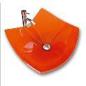 Victory Square Orange Tempered glass Vessel Sink and Chrome Faucet