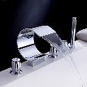 Waterfall Roman Bath Tub Faucet Widespread Tub Mixer Tap with Hand Shower (Curved Shape Design)