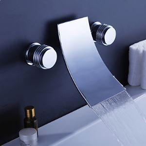 Waterfall Widespread Contemporary Bathtub Faucet (Chrome Finish)