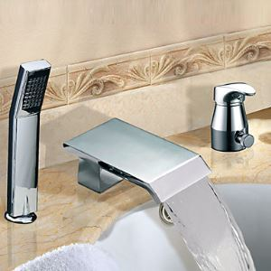 Widespread Chrome Finish Contemporary Single Handle Waterfall Tub Faucet With Handshower