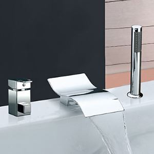 Widespread Chrome Finish Waterfall Contemporary Single Handle Tub Faucet With Handshower