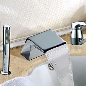 Widespread Single Handle Contemporary Chrome Finish Waterfall Tub Faucet With Handshower