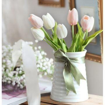 Tulip Silk Flowers Small Spiral Ceramic Flower Vase