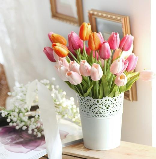 Tulip Silk Flowers Iron Flower Bucket Arrangement