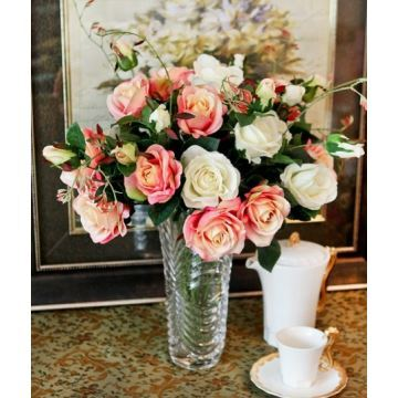 Blue Enchantress Silk Flowers Wave Crystal Flower Vase