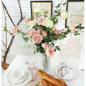Janil Rose Silk Flowers, Assorted Gypsophila, Wave Crystal Flower Rose Arrangement