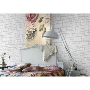 Contemporary Natural Brick Lines Non-Woven Paper Wall Paper