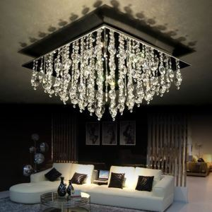 Modern Crystal Flush Mount with 16 Lights in Square