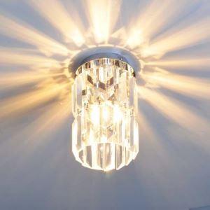 Crystal Flush Mount Light with Cylinder Shape Design