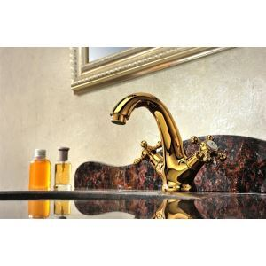 Gold Plated Basin Faucet Mixer Push Down Faucet Water Tap