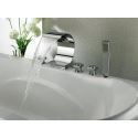 3 Handle Roman Bath Tub and Shower Faucet Set Waterfall Bath Mixer Tap with Handle Shower Deck Mounted