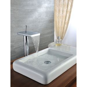 Deck Mounted High Chrome Plated Copper Bathroom Sink Faucet With Single Handle