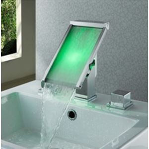 Two Handle Widespread Glass LED Basin Faucet