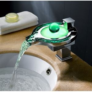 3-color Glass LED Faucet  Lighting Water Basin  Tap