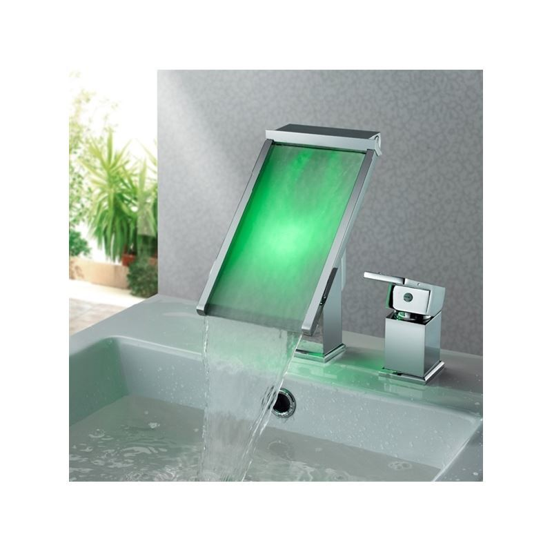Three Color Changing Lighted Led Glass Waterfall Faucet