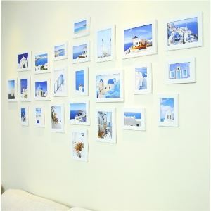 Modern Minimalist Wood Photo Wall Frame set Collection-Set of 24(Pictures Not Included)