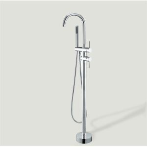 Floor Standing Tub Faucet with Hand Shower - Chrome Finish