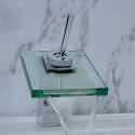 Glass Waterfall Basin Mixer Tap Single Bathroom Faucet with the Square Featured Spout (MS18)