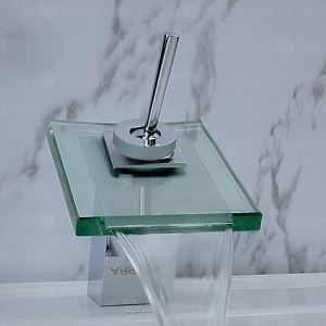 Modern Contemporary Waterfall Basin Faucet With Single Handle Bathroom Taps with the Square Featured Spout (MS18)