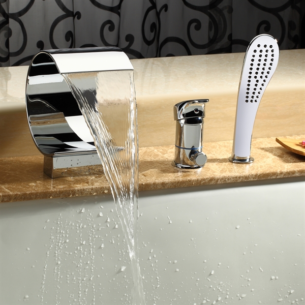 Deck Mount Tub Faucet Widespread Waterfall Bathroom Tub Filler With Hand Shower Mpf02