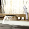 Roman Deck Mount Tub Faucet With Hand Held Shower Solid Brass Shower Tap (MPF03)