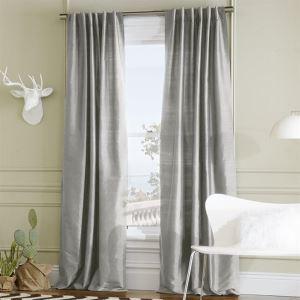 ( One Panel )  Mediterranean Jacquard Grey Polyester Energy Saving Curtains-6