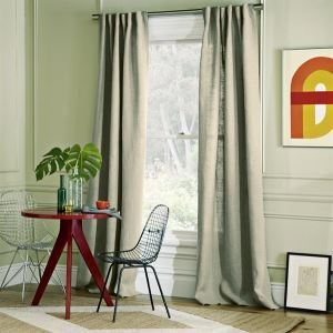 Energy Saving Curtain Country Solid Grey Linen Bedroom Custom Curtain - 440984 ( One Panel )