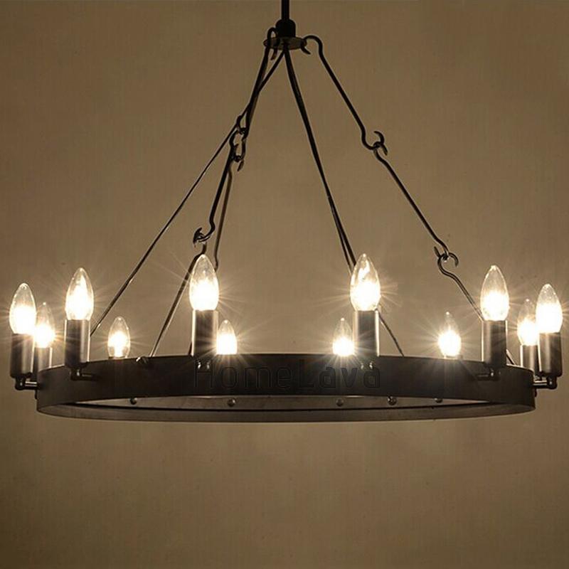 60w E12 14 Retro Style Iron Pendent Light With 12 Lights