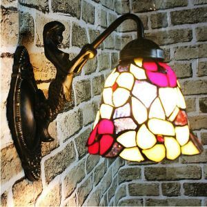 Tiffany Wall Light Antique Wall Lamp in Mermaid & Floral Pattern