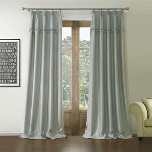 Room Darkening Curtain Jacquard Grey Geometric Polyester & Cotton Custom Curtain - 560 ( One Panel )