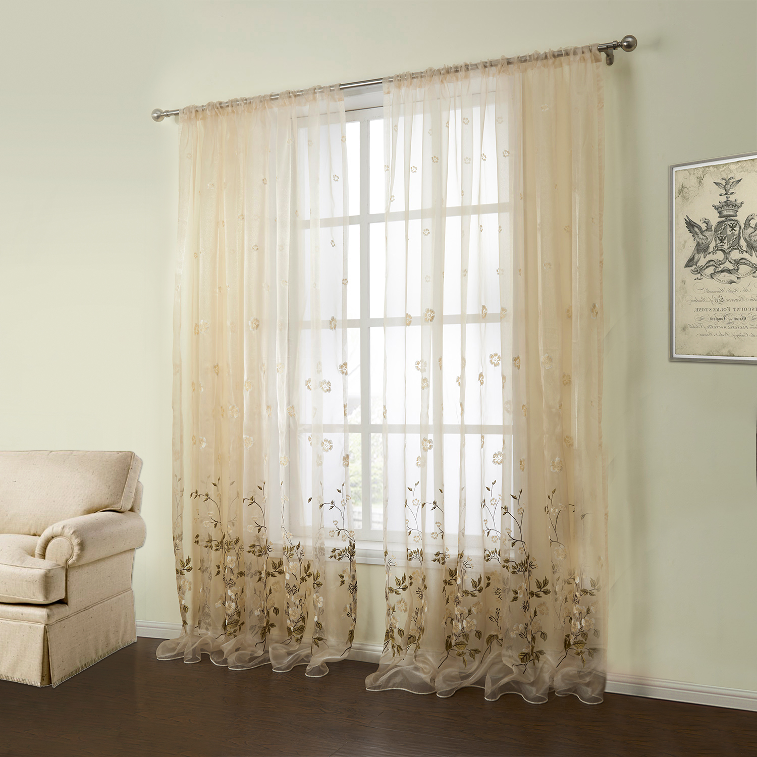 One Panel Country Embroidered Beige Floral Pattern