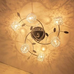 20W G4 Circinate Iron Flush Mount Light with Aluminum and Crystal Shades