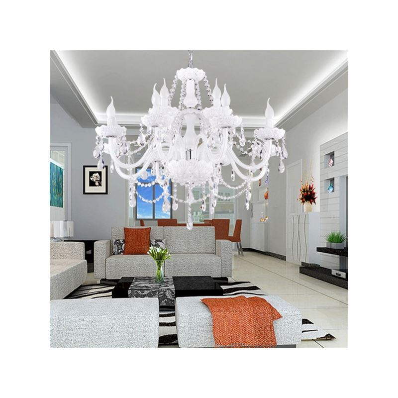 Contemporary White Crystal Chandelier, White Chandeliers For Dining Rooms