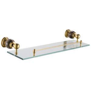 Contemporary Golden Glass Shelf Single-layer Copper & Marble & Stalinite Bath Shelf