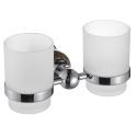 New Modern Wall Mounted Chrome-colored Double Toothbrush Cup Copper & Marble Toothbrush Holder