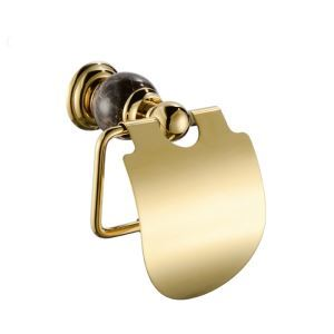 Contemporary Wall Mounted Toilet Paper Holder Golden Copper & Marble Toilet Roll Holder