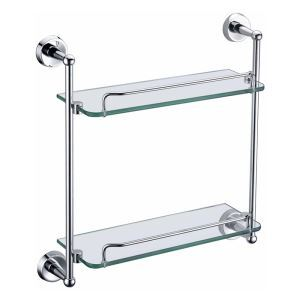 (In Stock) New Modern Chrome-colored Bath Shelf Bathroom Accessories Solid Brass Double Glass Shelf