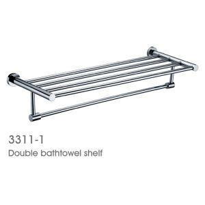 New Modern Chrome finish Solid Brass Bathroom Shelf With Towel Bar