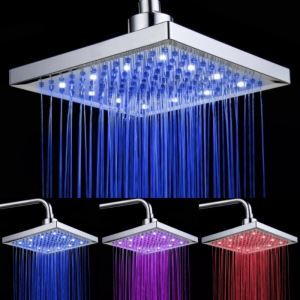 Chromed Brass Square LED Rain Shower Head 8 Inch (0913 -8104)