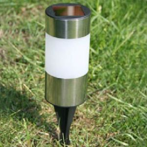 Stainless Steel Landscape Lawn Tube Solar Light Cylinder Garden Path Lamp